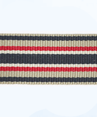 Petersham woven stripes 10 meters –  Stone / Navy / Red / Lt.Cream 25mm