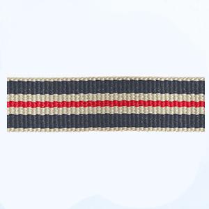Petersham woven stripes 10 meters – Stone / Navy / Red/Light Cream – 15mm