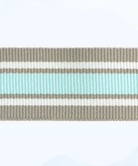 Petersham woven stripes 10 meters –  Taupe / White / Aqua 25mm