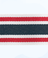 Petersham woven stripes 10 meters –  White / Red / Navy 30mm