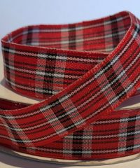 Tartan Patterned Ribbon (Red & Black) – 10 meters