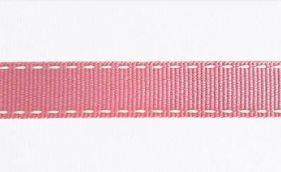 Petersham Saddle Stitch Sugar Pink/Light Cream 15mm